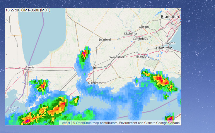 Weather Radar for London, Ontario, Canada